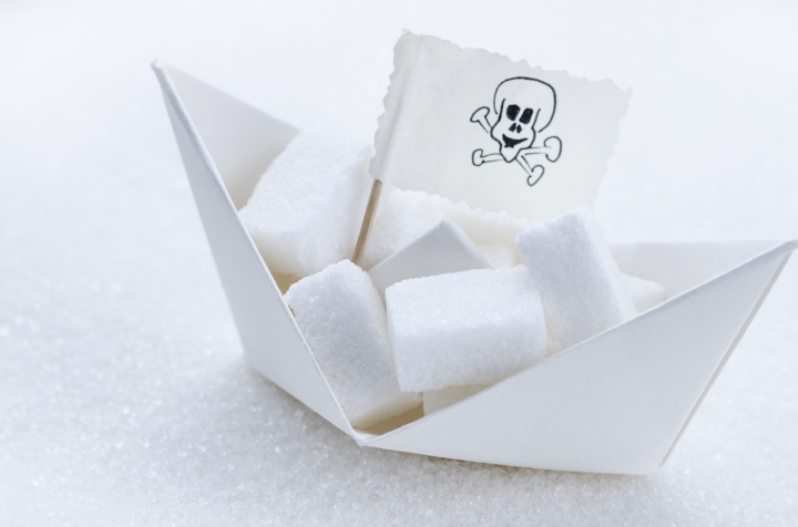 White sugar cubes in a boat
